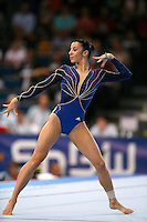 Sept 5, 2007; Stuttgart, Germany;  Isabelle Severino of France performs on floor exercise during women's artistic gymnastics team final at 2007 World Championships. Copyright 2007 by Tom Theobald