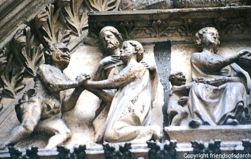 Paris: Notre Dame--Tympanum. Cloister Portal. Photo '90.