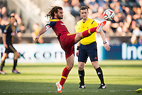 Kyle Beckerman (5) of Real Salt Lake. Real Salt Lake and the Philadelphia Union played to a 2-2 tie during a Major League Soccer (MLS) match at PPL Park in Chester, PA, on April 12, 2014.