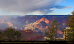 Storm over Trinity Creek, Battleship and Isis Temple from Grandeur Point, South Rim, Grand Canyon, Arizona