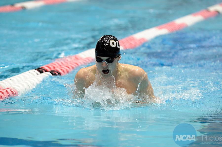 25 MAR 2011:  Colby Kubat of St. Olaf competes in the 100 breaststroke consolation final during the Division III Men's and Women's Swimming and Diving Championship help at Allan Jones Aquatic Center in Knoxville, TN.  Kubat finished first in the consolation final with a  time of 55.92  David Weinhold/NCAA Photos