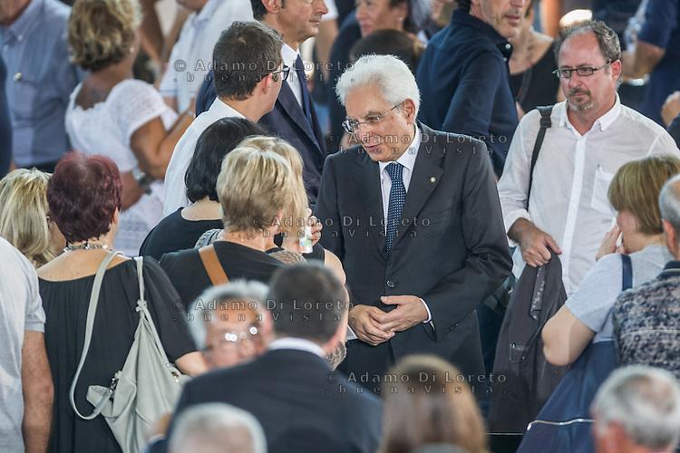 The President Sergio Mattarella during the Funeral earthquake on PalaSport Monticelli in Ascoli Piceno  August 27, 2016, in Marche, Italy. Photo by Adamo Di Loreto
