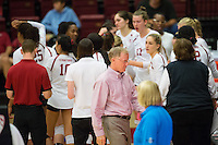 STANFORD, CA - October 15, 2016: Huddle at Maples Pavilion. The Cardinal defeated the Arizona State Sun Devils 3-1.