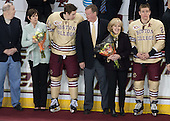 Kevin and Shelagh Hayes, Kevin Hayes (BC - 12), Dave and Kirk Arnold, Bill Arnold (BC - 24) - The visiting University of Notre Dame Fighting Irish defeated the Boston College Eagles 2-1 in overtime on Saturday, March 1, 2014, at Kelley Rink in Conte Forum in Chestnut Hill, Massachusetts.