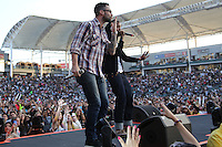 05/12/12 Carson, CA : Adam Levine performs with Travie McCoy and Gym Class Heroes during KISS FM's Wango Tango concert held at the Home Depot Center