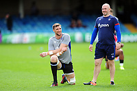 Luke Charteris of Bath Rugby and High Performance Manager Allan Ryan look on during the pre-match warm-up. European Rugby Challenge Cup Quarter Final, between Bath Rugby and CA Brive on April 1, 2017 at the Recreation Ground in Bath, England. Photo by: Patrick Khachfe / Onside Images