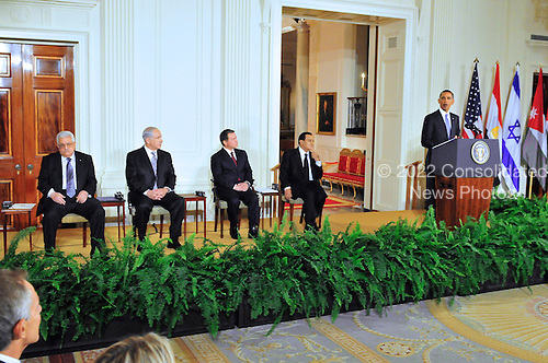 United States President Barack Obama and Middle Eastern leaders make statements in the East Room of the White House following their bi-lateral meetings  in Washington, D.C. on Wednesday, September 1, 2010.  The statements are in advance of the opening of the first direct talks in two years between Israel and the Palestinian Authority scheduled to begin at the State Department in Washington, D.C. tomorrow.  From left to right: Prime Minister Benjamin Netanyahu of Israel, President Hosni Mubarak of Egypt, President Mahmoud Abbas of the Palestinian Authority, and King Abdullah II of Jordan..Credit: Ron Sachs / Pool via CNPUnited States President Barack Obama and Middle Eastern leaders make statements in the East Room of the White House following their bi-lateral meetings  in Washington, D.C. on Wednesday, September 1, 2010.  The statements are in advance of the opening of the first direct talks in two years between Israel and the Palestinian Authority scheduled to begin at the State Department in Washington, D.C. tomorrow.  From left to right: President Mahmoud Abbas of the Palestinian Authority, Prime Minister Benjamin Netanyahu of Israel, King Abdullah II of Jordan, and President Hosni Mubarak of Egypt..Credit: Ron Sachs / Pool via CNP.(RESTRICTION: NO New York or New Jersey Newspapers or newspapers within a 75 mile radius of New York City)