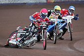 Arena Essex Hammers vs Coventry Bees - Skybet Elite League 'B' - 01/06/05 - Heat 2 -  Arena's Josh Larsen on his way to three points ahead of Coventry's Martin Smolinski and Hammer Roman Povazhny - (Gavin Ellis 2005)