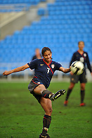 USA Captain Shannon Boxx blasts a shot on goal. The USA captured the 2010 Algarve Cup title by defeating Germany 3-2, at Estadio Algarve on March 3, 2010.