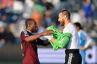Marvell Wynne (22) celebrates with goalkeeper Matt Pickens (18) after defeating the Philadelphia Union. The Colorado Rapids defeated the Philadelphia Union 2-1 during a Major League Soccer (MLS) match at PPL Park in Chester, PA, on March 18, 2012.