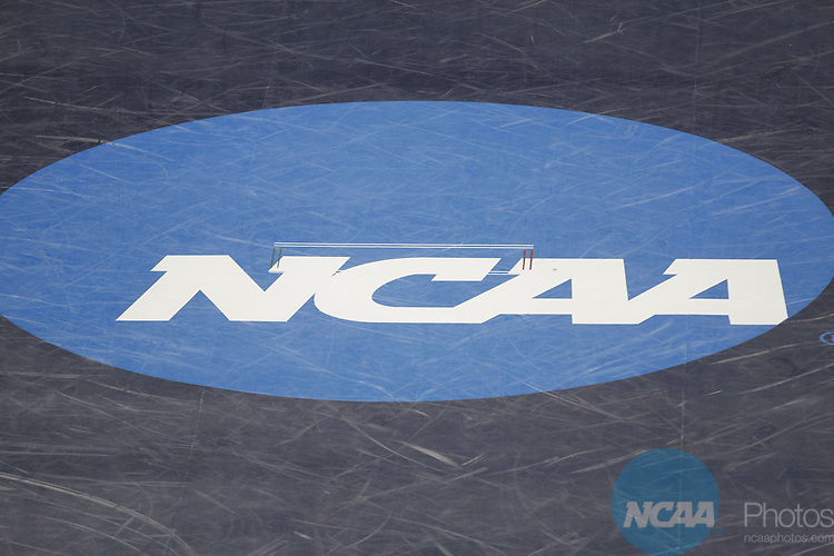 15 MAR 2014: A view of the NCAA logo on the wrestling mat during the Division III Men's Wrestling Championship held at the US Cellular Center in Cedar Rapids, IA. Conrad Schmidt/NCAA Photos