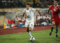 Italy's Mattia Mustacchio (17) races Hungary's Bence Zambo (15) to the ball during the FIFA Under 20 World Cup Quarter-final match at the Mubarak Stadium  in Suez, Egypt, on October 09, 2009. Hungary won 2-3 in overtime.