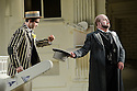London UK. 19.11.2015. English National Opera presents THE MIKADO, by Arthur Sullivan & W. S. Gilbert, directed by Jonathan Miller, at the London Coliseum. Picture shows: Anthony Gregory (Nanki-Poo) and Graeme Danby (Poo-Bah, Lord High Everything Else). Photograph © Jane Hobson.