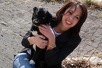 Ragazza con cane.Girl and dog....