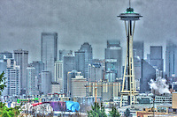 The Seattle Skyline as viewed from Queen Anne hill, in typical western Washington setting: Wet charcoal grey (HDR version)