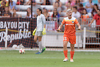 Houston, TX - Saturday April 15, 2017: Janine van Wyk attempts to calm the Dash during a regular season National Women's Soccer League (NWSL) match won by the Houston Dash 2-0 over the Chicago Red Stars at BBVA Compass Stadium.