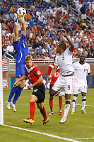 7 June 2011: Canada goalkeeper Lars Hirschfeld (1) makes a save during the CONCACAF soccer match between USA and Canada at Ford Field Detroit, Michigan. USA won 2-0.