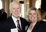 PROSPECT CT. 02 February 2017-020317SV08-Richard O&rsquo;Brien of Bristol, and Kellie Jandreau of Meriden, both of Webster Bank attend The Waterbury Regional Chamber's Small Business Council&rsquo;s 20th annual Harold Webster Smith Awards in Prospect Friday.<br /> Steven Valenti Republican-American