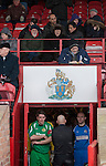Altrincham 2 Worcester City 0, 23/03/2013. Moss Lane, Blue Square Bet North. The teams gathering in the players tunnel before the Blue Square Bet North fixture between Altrincham and Worcester City (in green) at Moss Lane, Altrincham. The home team won the match 2-0 watched by 777 spectators on a day when most non-League football in England was cancelled due to adverse weather. Altrincham were historically one of the major English non-League teams but have never been promoted to the Football League. Photo by Colin McPherson.