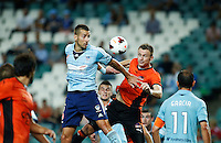 Brisbane Roar Besart Berisha (orange) and Sydney FC Nikola Petkovic during their A-League match in Sydney, March 14, 2014. Photo by Daniel Munoz/VIEWPRESS EDITORIAL USE ONLY