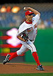 16 August 2008: Washington Nationals' starting pitcher John Lannan on the mound against the Colorado Rockies at Nationals Park in Washington, DC.  The Rockies defeated the Nationals 13-6, handing the last place Nationals their 9th consecutive loss. ..Mandatory Photo Credit: Ed Wolfstein Photo