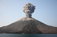 "Anak Krakatau explosive eruption / strombolian eruption / ash cloud.Anak Krakatau volcano, Indonesia, Sunda Strait, Stratovolcano.(Anak means ""Child of"" and is new cone formed in space left behind after famous 1883 eruption).  .."