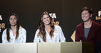 Fussball International  FIFA Ballon d Or / Weltfussballerin 2012    Pressekonferenz   07.01.2013 Marta (Brasilien), Alex Morgan (USA) und Abby Wambach (v.li,USA)