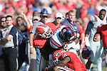 Ole Miss tight end Ferbia Allen (83) vs. Georgia linebacker Alec Ogletree (9) and Georgia free safety Bacarri Rambo (18) at Sanford Stadium in Athens, Ga. on Saturday, November 3, 2012.