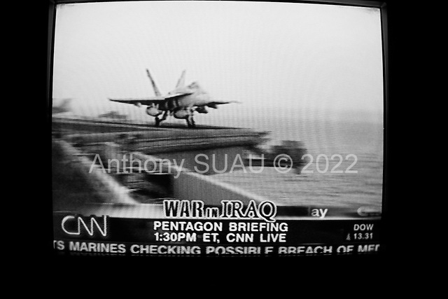 Washington DC, District of Columbia.USA.March 24, 2004..TV images of US planes launching air-strikes into Iraq.