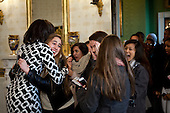 First Lady Michelle Obama greets visitors as they enter the Blue Room during their tour of the White House, February 16, 2012. .Mandatory Credit: Chuck Kennedy - White House via CNP