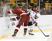 Brendan Rempel (Harvard - 42), Rob Dongara (Northeastern - 39) - The Northeastern University Huskies defeated the Harvard University Crimson 4-0 in their Beanpot opener on Monday, February 7, 2011, at TD Garden in Boston, Massachusetts.