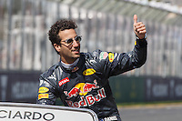 March 20, 2016: Daniel Ricciardo (AUS) #3 from the Red Bull Racing team at the drivers' parade prior to the 2016 Australian Formula One Grand Prix at Albert Park, Melbourne, Australia. Photo Sydney Low