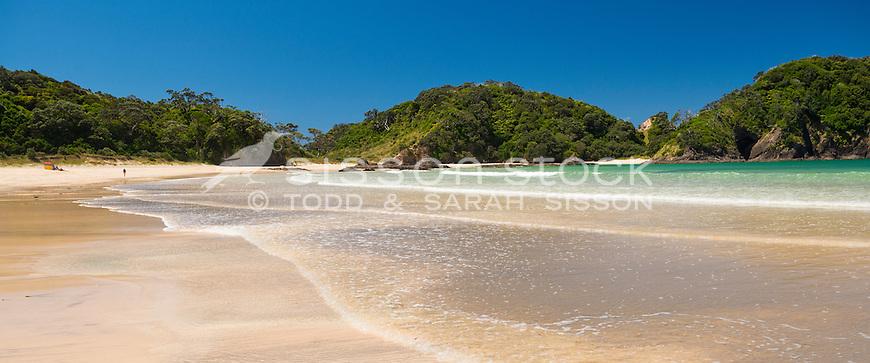 Golden sand beach at Matapouri Bay, Tutukaka Coast, Northland, North Island, New Zealand - stock photo, canvas, fine art print
