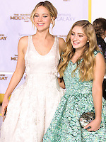 LOS ANGELES, CA, USA - NOVEMBER 17: Jennifer Lawrence, Willow Shields arrive at the Los Angeles Premiere Of Lionsgate's 'The Hunger Games: Mockingjay, Part 1' held at Nokia Theatre L.A. Live on November 17, 2014 in Los Angeles, California, United States. (Photo by Rudy Torres/Celebrity Monitor)