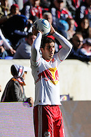 Carlos Mendes (44) of the New York Red Bulls on a throw in during the 1st leg of the Major League Soccer (MLS) Western Conference Semifinals against the Los Angeles Galaxy at Red Bull Arena in Harrison, NJ, on October 30, 2011.