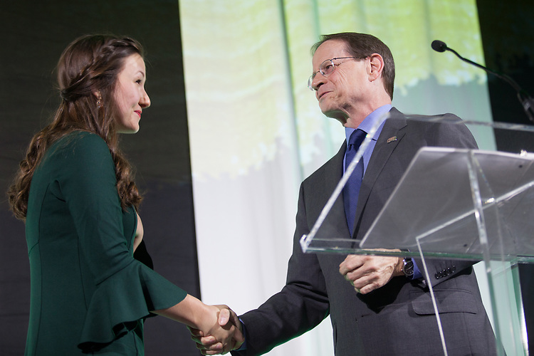 David Descutner, Interim President, announced Faith Voinovich as the new Student Trustee at the 34th Annual Leadership Awards Gala in Baker Ballroom on Wednesday, April 5, 2017.