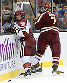 Colin Blackwell (Harvard - 63), Isaac MacLeod (BC - 7) - The Boston College Eagles defeated the Harvard University Crimson 4-1 in the opening round of the 2013 Beanpot tournament on Monday, February 4, 2013, at TD Garden in Boston, Massachusetts.