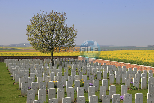 The 115th edition of the Paris-Roubaix 2017 running 257km from Compiegne to Roubaix passes by numerous war memorials including Battle of the Somme graves, France. 8th April 2017.<br /> Picture: Eoin Clarke | Cyclefile<br /> <br /> <br /> All photos usage must carry mandatory copyright credit (&copy; Cyclefile | Eoin Clarke)