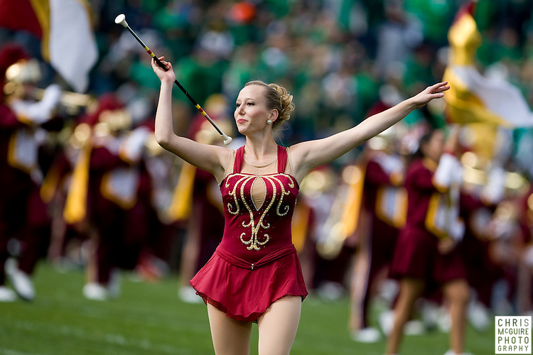 10/17/09 - South Bend, IN:  A twirler performs with the USC Trojan Marching Band during their pregame show at Notre Dame Stadium on Saturday.  USC won the game 34-27 to extend its win streak over Notre Dame to 8 games.  Photo by Christopher McGuire.