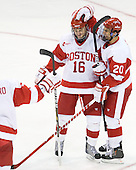 Kevin Gilroy (BU - 16), Matt Ronan (BU - 20) - The Boston University Terriers defeated the visiting University of Toronto Varsity Blues 9-3 on Saturday, October 2, 2010, at Agganis Arena in Boston, MA.