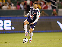 Pachuca FC forward Herculez Gomez (9) steps over the ball. USA Chivas USA defeated Pachuca FC 1-0 during 2010 SuperLiga group play at Home Depot Center stadium in Carson, California Wednesday July 21, 2010.
