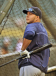 28 September 2012: Detroit Tigers shortstop Jhonny Peralta awaits his turn in the batting cage prior to a game against the Minnesota Twins at Target Field in Minneapolis, MN. The Twins defeated the Tigers 4-2 in the first game of their 3-game series. Mandatory Credit: Ed Wolfstein Photo