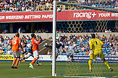 Darius Henderson, Millwall FC header loops agonisingly over the Blackpool crossbar - Millwall vs Blackpool - NPower Championship Football at the New Den, London - 18/08/12 - MANDATORY CREDIT: Ray Lawrence/TGSPHOTO - Self billing applies where appropriate - 0845 094 6026 - contact@tgsphoto.co.uk - NO UNPAID USE.
