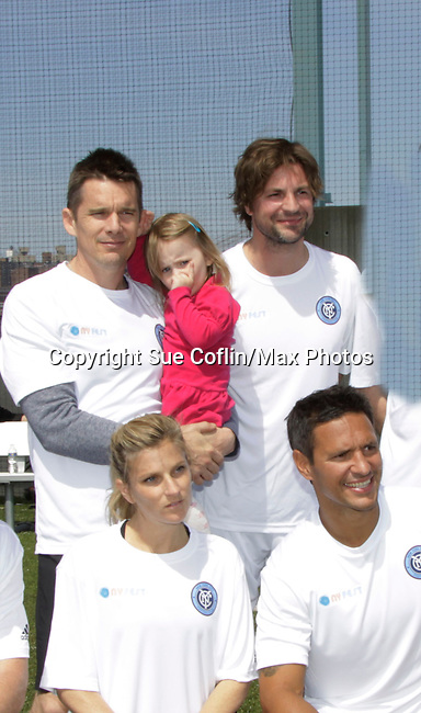 Celebs - actor Ethan Hawke & wife Ryan and daughter Indiana and actor Gale Harold and more participated in NYFEST - a celebrity soccer tournament lasting all day on April 19, 2014 at Pier 5, Brooklyn Bridge Park, Brooklyn, New York.  (Photo by Sue Coflin/Max Photos)