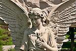 Stone angel in the historical Laurel Hill Cemetery in Philadelphia