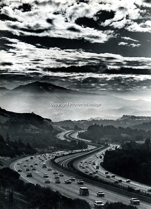 View of highway #24 looking east past Lafayette and Walnut Creek, Ca toward  Mt.Diablo.(1980 photo by Ron Riesterer)