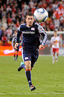 Chris Tierney (8) of the New England Revolution. The New York Red Bulls defeated the New England Revolution 2-0 during a Major League Soccer (MLS) match at Red Bull Arena in Harrison, NJ, on October 21, 2010.