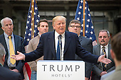 Businessman Donald Trump, a candidate for the Republican Party nomination for President of the United States, holds a press conference at the still under construction Trump International Hotel in Washington, DC on Monday March 21, 2016.<br /> Credit: Ron Sachs / CNP<br /> (RESTRICTION: NO New York or New Jersey Newspapers or newspapers within a 75 mile radius of New York City)