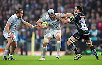 Dave Attwood of Bath Rugby takes on the Exeter Chiefs defence. Aviva Premiership match, between Exeter Chiefs and Bath Rugby on October 30, 2016 at Sandy Park in Exeter, England. Photo by: Patrick Khachfe / Onside Images