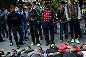 People of all ages seen doing a peaceful protest at Jantar Mantar in New Delhi, India.